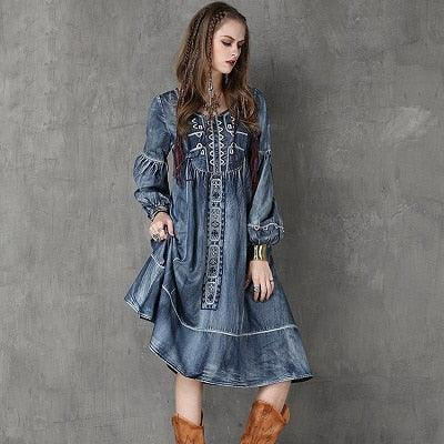 Long Lantern Sleeve Embroidery Denim Dress