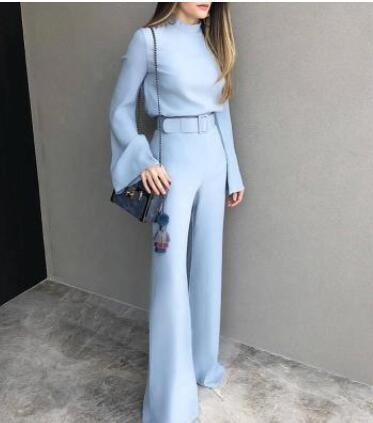 One Piece  Elegant High Neck Bell Sleeve Wide Leg Belted Jumpsuit