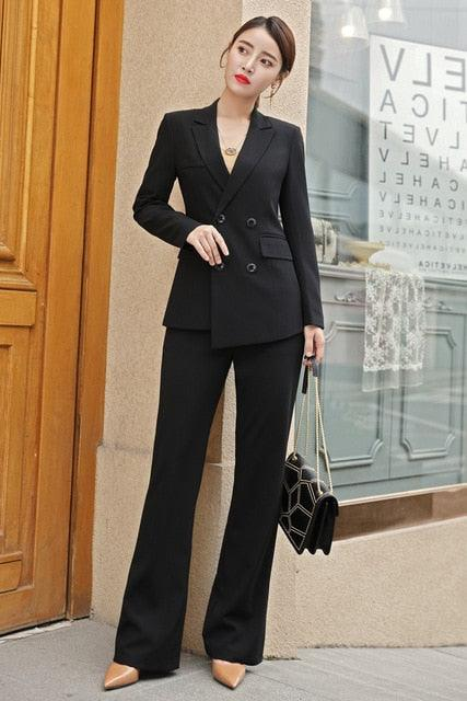 Double Breasted Blazer with Pants Women's Work Pantsuit