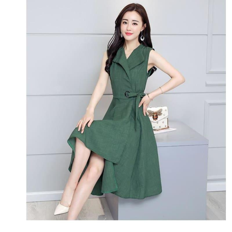 A-Lin v-neck Cotton Linen Summer Sleeveless Work Office Wear Casual Midi Dress - Midi Dress