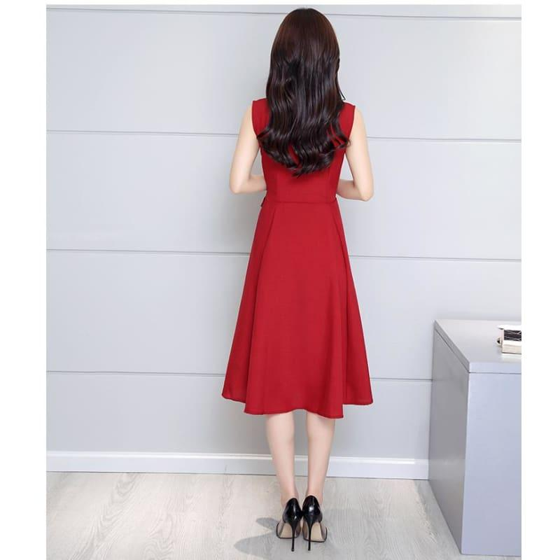 A-Lin v-neck Cotton Linen Summer Sleeveless Work Office Wear Casual Midi Dress - TeresaCollections