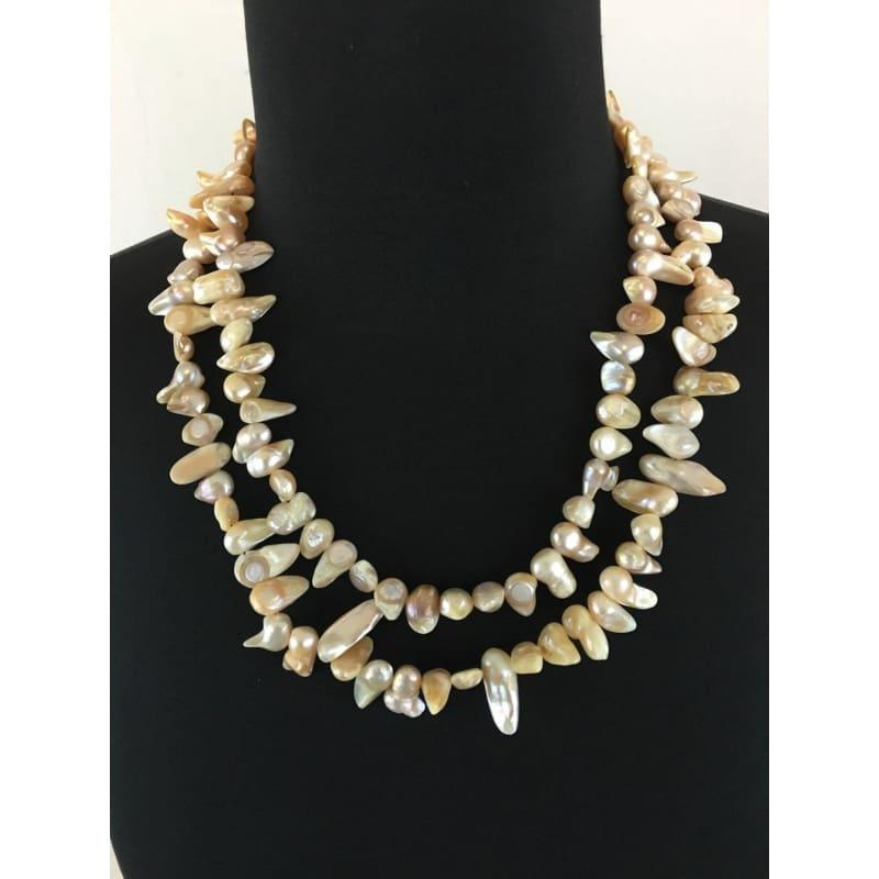 AB irregular shaped double strands Mother of Pearl (MOP)freshwater pearls womens necklace. - Handmade