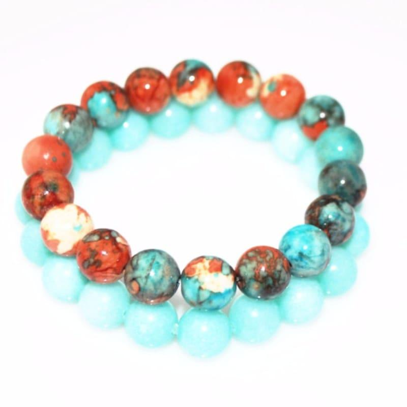 Amazonite Gemstone Stretch Bracelets - Handmade