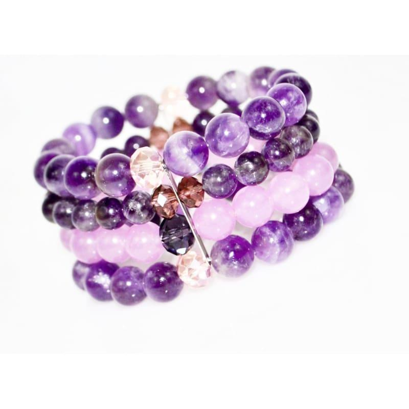 Amethyst And Purple Carnelian Beaded Multi Strands Stretch Women's Bracelets - TeresaCollections