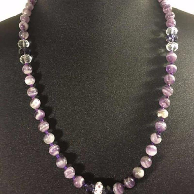Amethyst Gemstone with Rhinestones Beaded Women's Necklace. - TeresaCollections