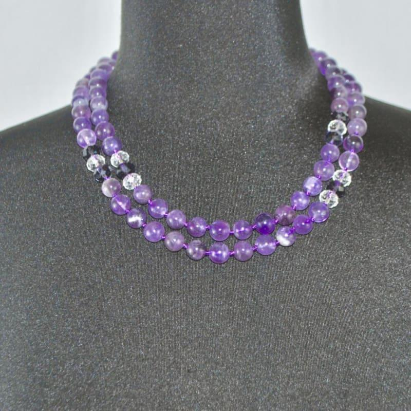 Amethyst Gemstone with Rhinestones Beaded Womens Necklace. - Handmade