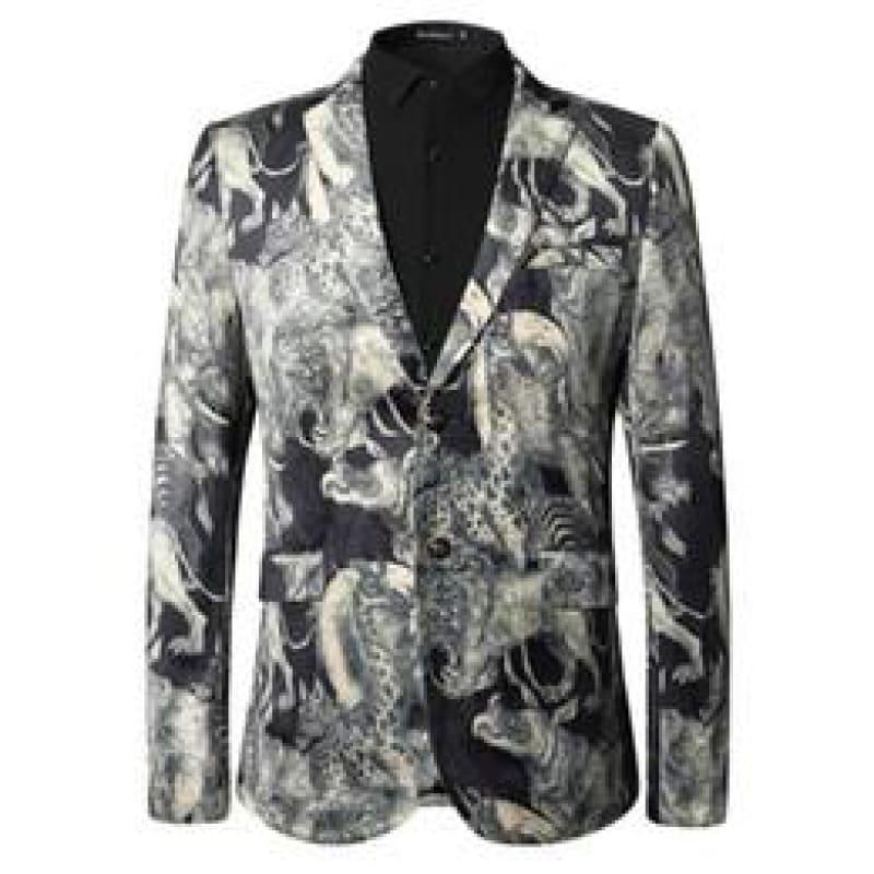 Animal Pattern Fashion Printed Blazer European And American Style Blazer - Mens Jackets