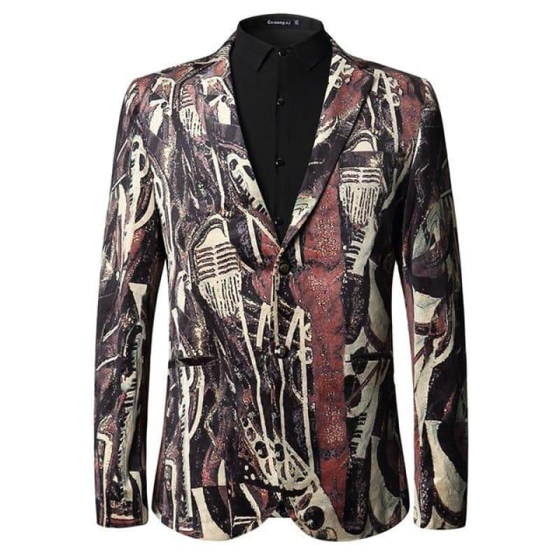 Animal Pattern Fashion Printed Blazer European And American Style Blazer - Red / L - Mens Jackets
