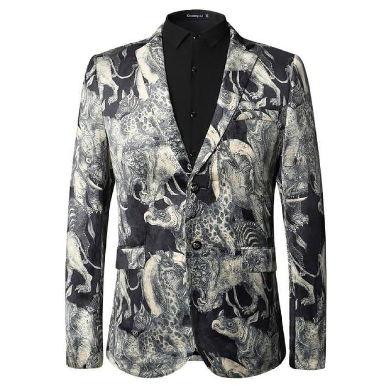 Animal Pattern Fashion Printed Blazer European And American Style Blazer - Silver / L - Mens Jackets