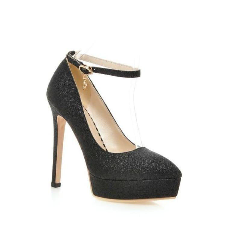 Ankle Strap Fashion Women Work Shoes Pointed Toe Platform Thin High Heel Buckle Pump - Black / 7 - Pumps