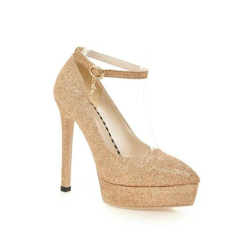 Ankle Strap Fashion Women Work Shoes Pointed Toe Platform Thin High Heel Buckle Pump - Gold / 7 - Pumps