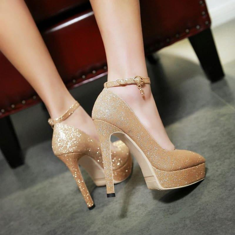 Ankle Strap Fashion Women Work Shoes Pointed Toe Platform Thin High Heel Buckle Pump - Pumps