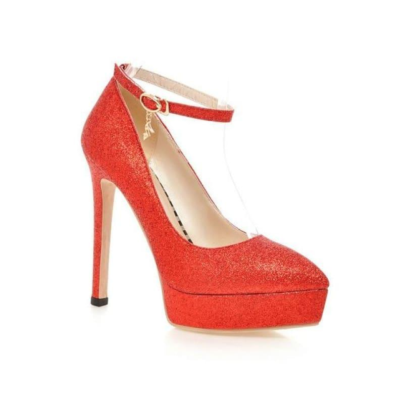 Ankle Strap Fashion Women Work Shoes Pointed Toe Platform Thin High Heel Buckle Pump - Red / 7 - Pumps