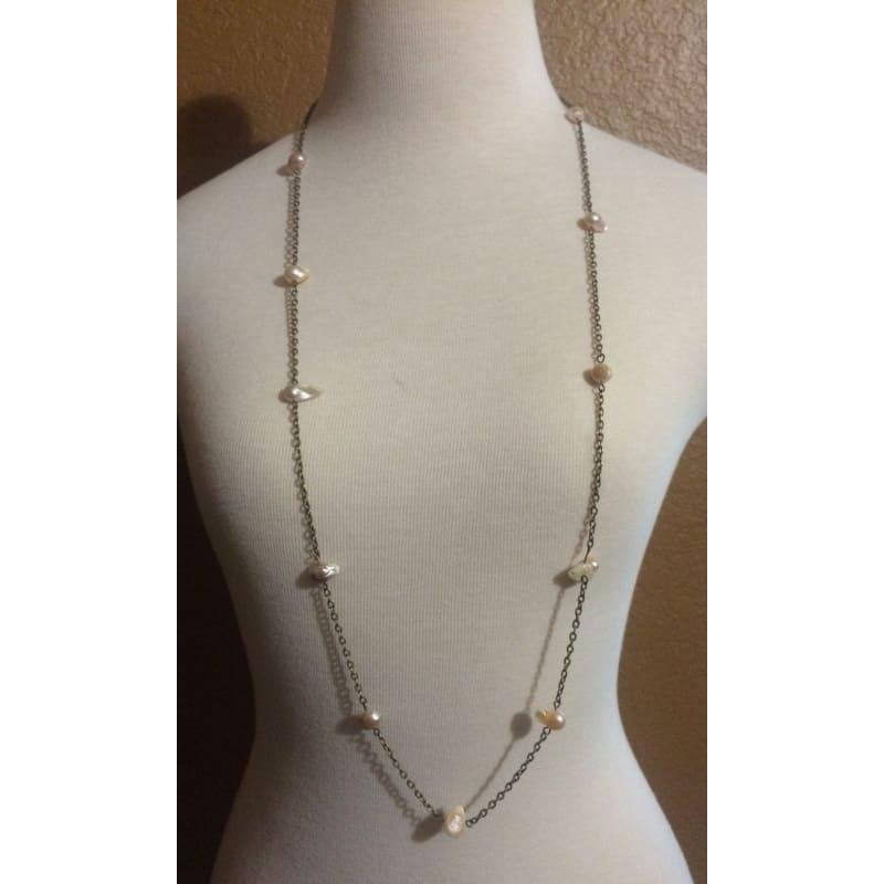 Antique Chain with Irregular MOP Beads Boho Necklace - Handmade