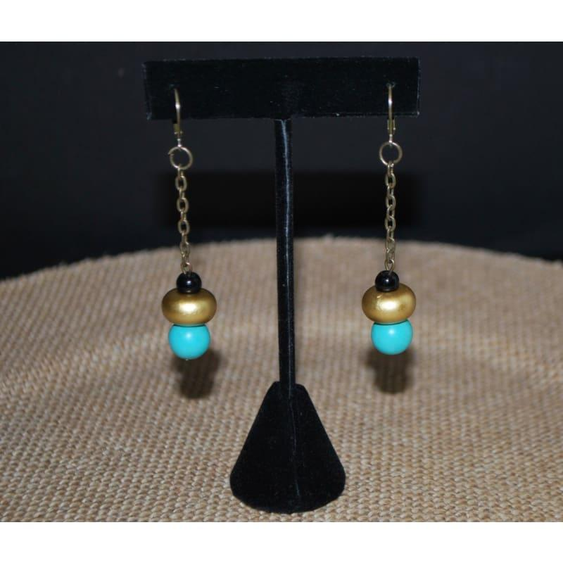 Antique Gold and Turquoise Earrings and Ring Womens Earrings - Handmade