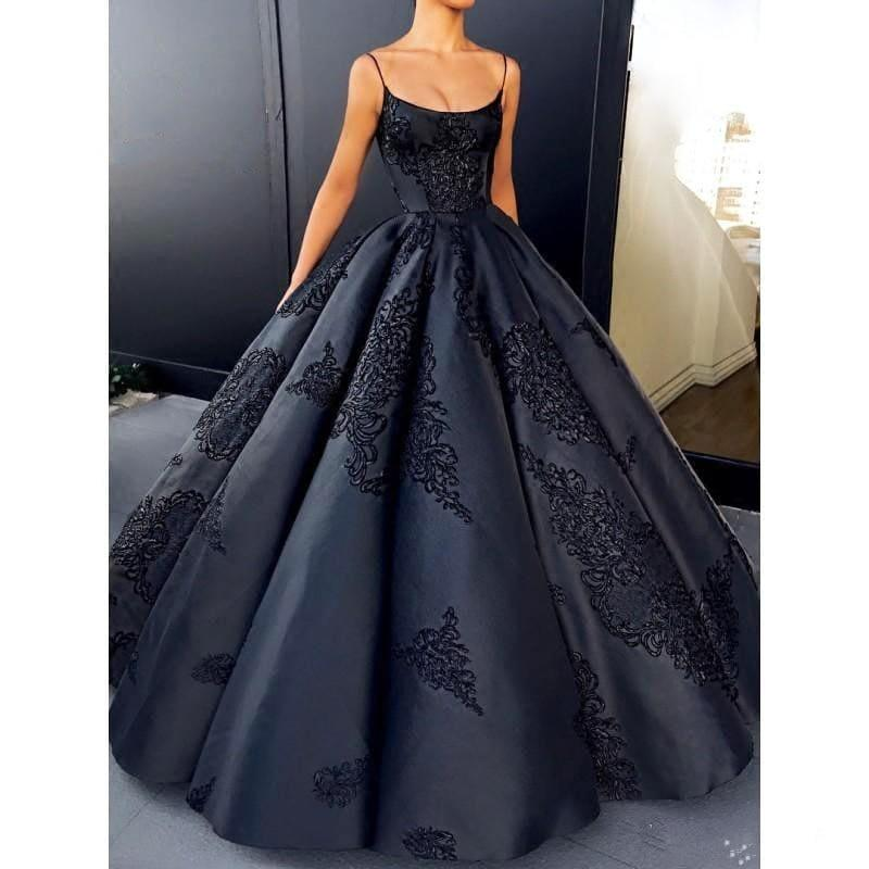 Appliques Pleated Elegant Custom Made Vintage Chic Ball Evening Formal Dress - TeresaCollections