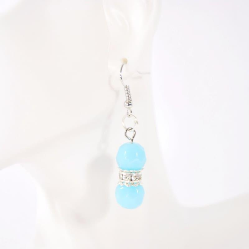 Aqua Blue Facet Bead With Silver Plated Dangle Earrings - Handmade