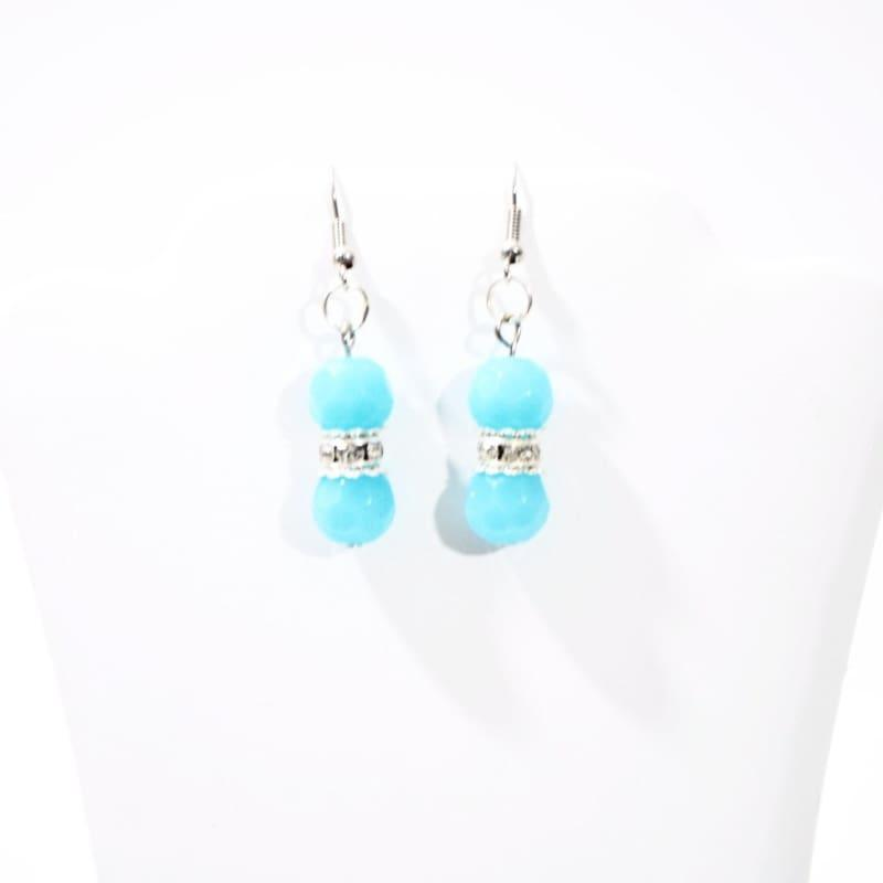 Aqua Blue Facet Bead With Silver Plated Dangle Earrings - TeresaCollections