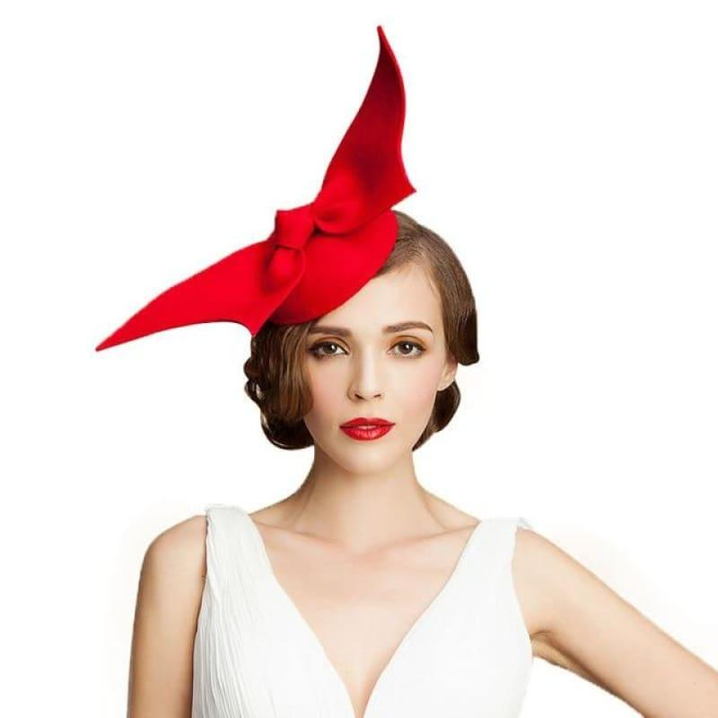 Australia Wool Pillbox Wedding Fascinator Bow knot Lady Vintage Felt Cocktail Party Fedoras Hats - Red - Hats