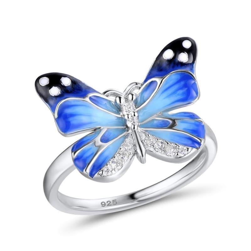 Authentic 925 Sterling Silver Charming Blue Butterfly Ring - Rings