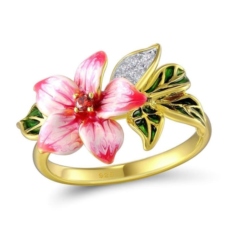 Authentic 925 Sterling Silver Pink Blooming Flower Charming Handmade Enamel Ring - 5.5 - Rings
