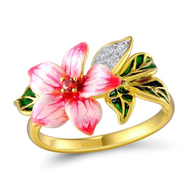 Authentic 925 Sterling Silver Pink Blooming Flower Charming Handmade Enamel Ring - Rings