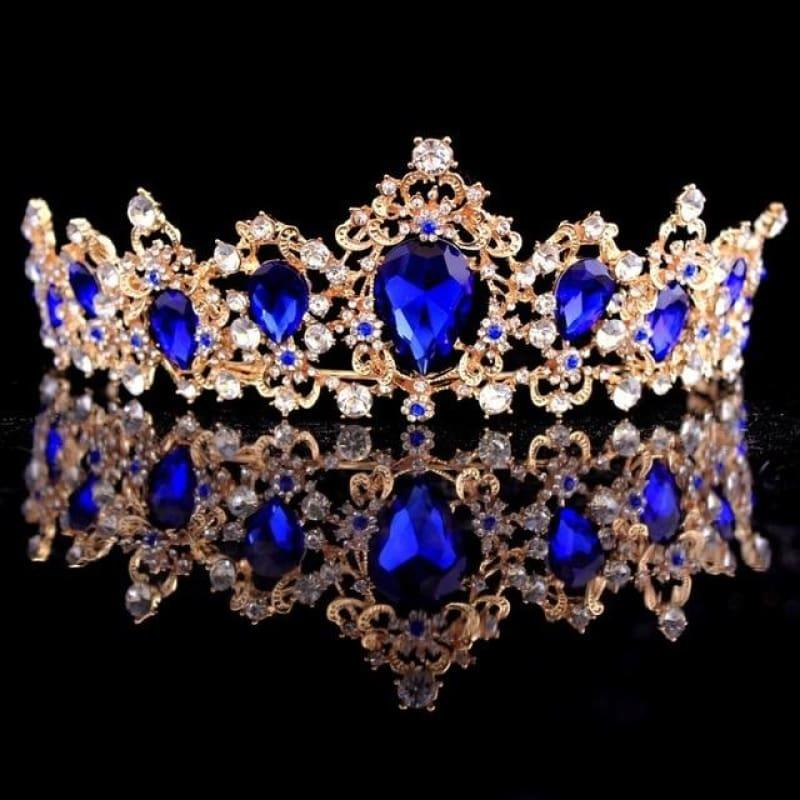 Baroque Crystal Crown Bridal Tiaras Crown Vintage Wedding Hair Accessories - Blue - hair clips