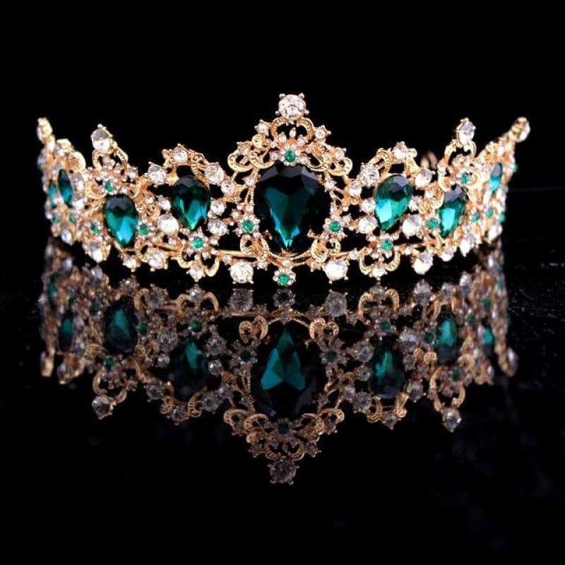 Baroque Crystal Crown Bridal Tiaras Crown Vintage Wedding Hair Accessories - Green - hair clips