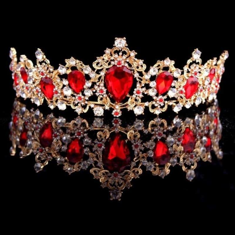 Baroque Crystal Crown Bridal Tiaras Crown Vintage Wedding Hair Accessories - Red - hair clips
