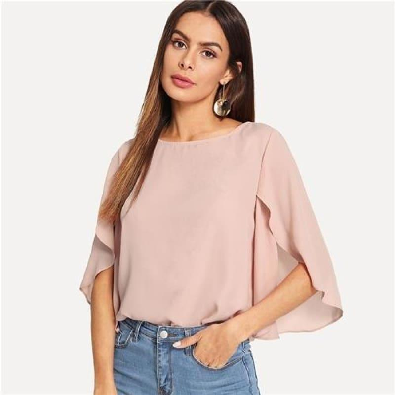 Batwing Sleeve Plain Casual Ladies Tops Round Blous - TeresaCollections