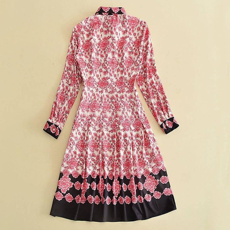 Beach Boho Bees Belts Chic Vintage Print Long Sleeve Dress - Midi Dress