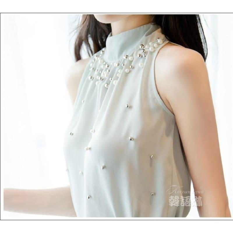 Beading Sleeveless Chiffon High Collar Blouse - Green / L - Sleeveless
