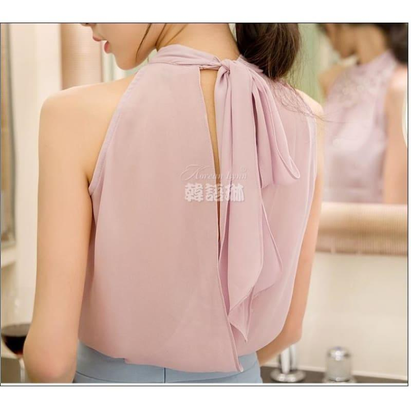 Beading Sleeveless Chiffon High Collar Blouse - Sleeveless
