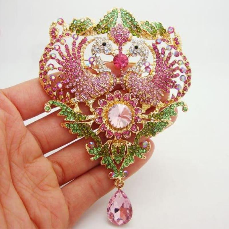 Beautiful Luxury Double Peacock Wings Animal Sunflower Pink Crystal Rhinestone Pendant Brooch Pin - Default title - Brooch