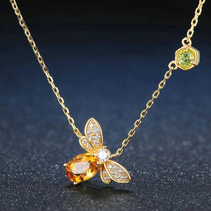 Bee Design Natural Citrine 925 Sterling Silver FineJewelry Set - Jewelry set