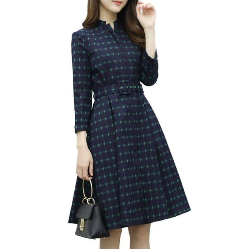 Belted Plaid High Waist Vintage Office Dress Retro Elegant Winter Dress - picture color / S - Mid length