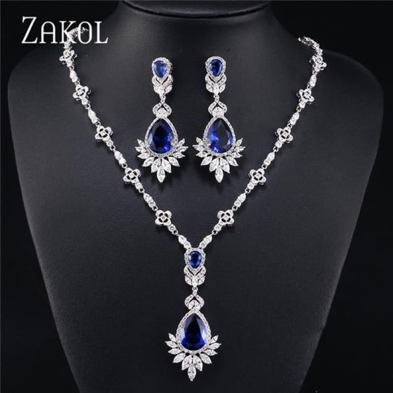 Big Drop Cubic Zirconia Leaf Bridal Wedding Jewelry Set - Blue - jewelry set