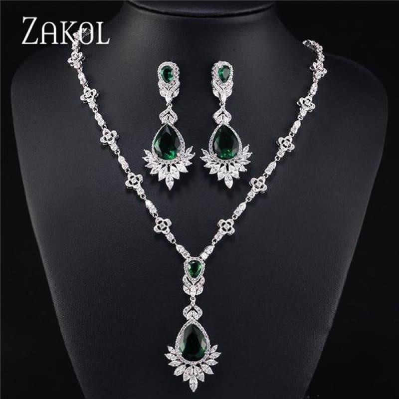 Big Drop Cubic Zirconia Leaf Bridal Wedding Jewelry Set - Green - jewelry set