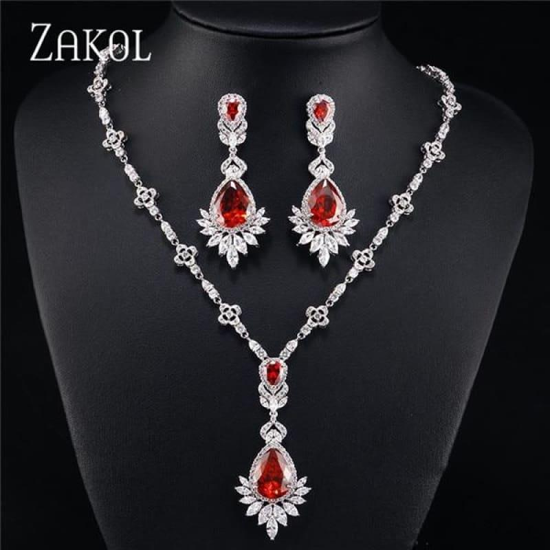 Big Drop Cubic Zirconia Leaf Bridal Wedding Jewelry Set - Red - jewelry set