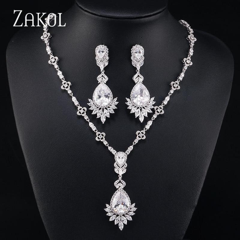Big Drop Cubic Zirconia Leaf Bridal Wedding Jewelry Set - jewelry set