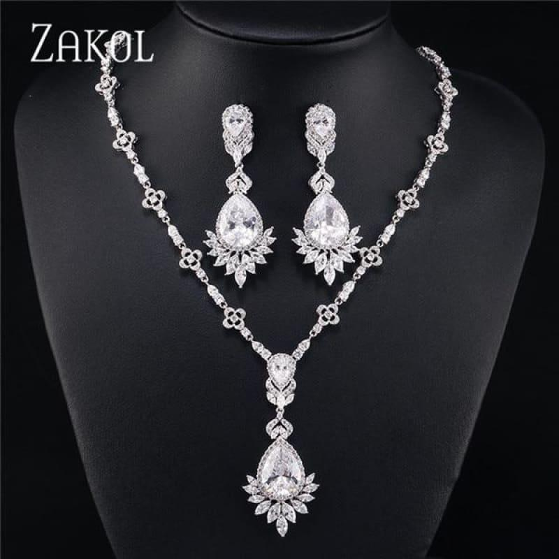 Big Drop Cubic Zirconia Leaf Bridal Wedding Jewelry Set - White - jewelry set