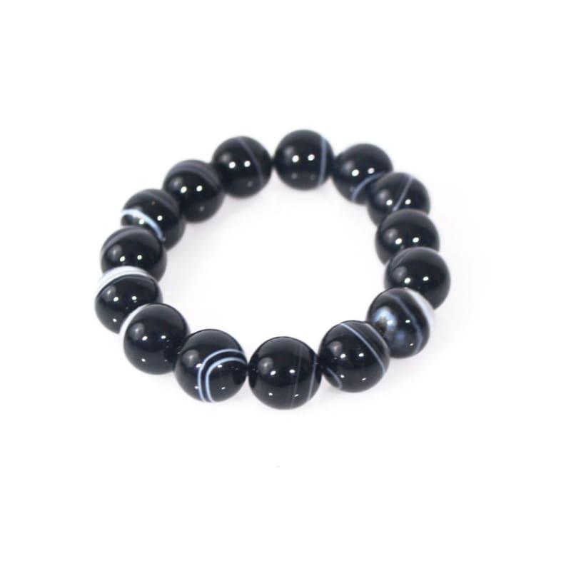 Black Agate Onyx Unisex Men's Gemstone Bracelets - TeresaCollections