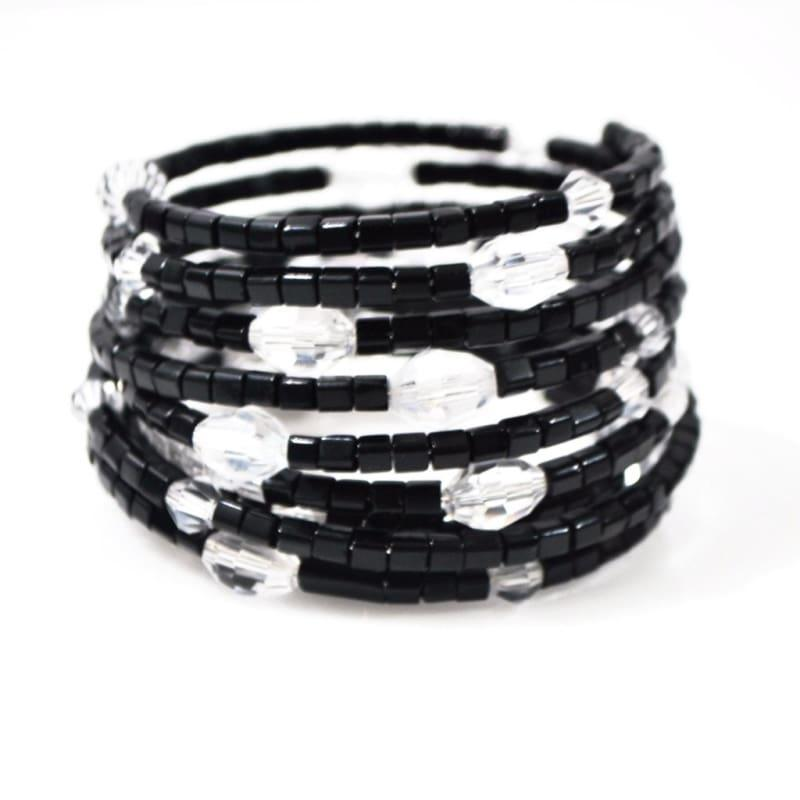 Black and Crystal Custom Handmade Wrap Around Bracelets - Handmade