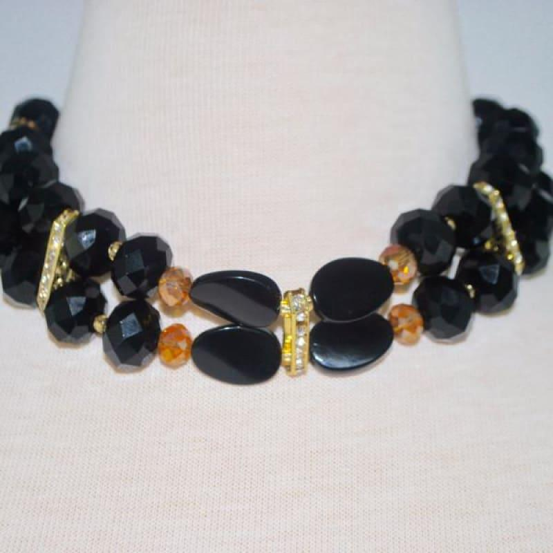 Black And Gold Filled Crystal Rhinestone Choker - Handmade