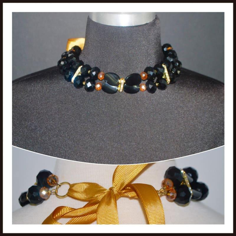 Black And Gold Filled Crystal Rhinestone Choker - TeresaCollections