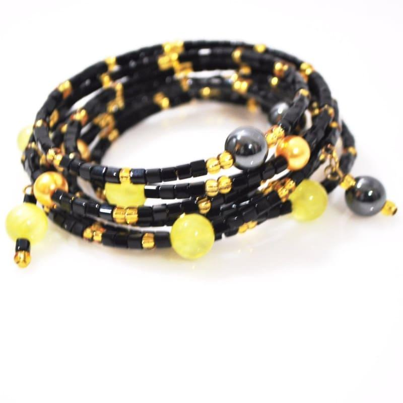 Black and Gold With Hematite Wrap Around Women's Bracelets - TeresaCollections