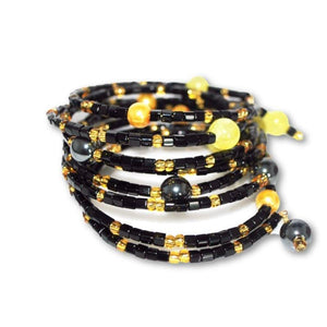 Black And Gold With Hematite Wrap Around Womens Bracelets - Handmade