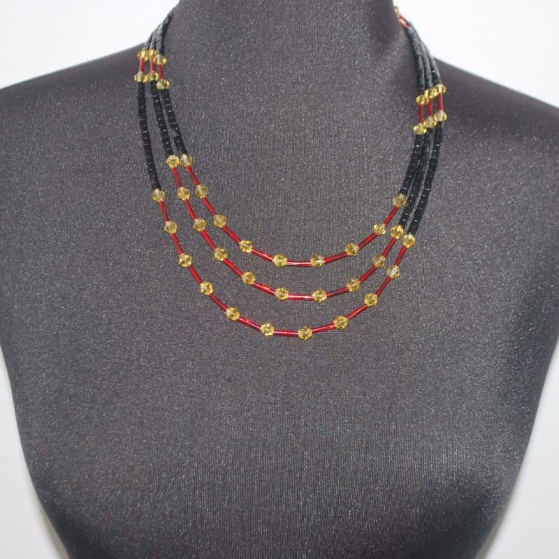 Black And Gold/Red Ascent Three Strands Necklace - Handmade