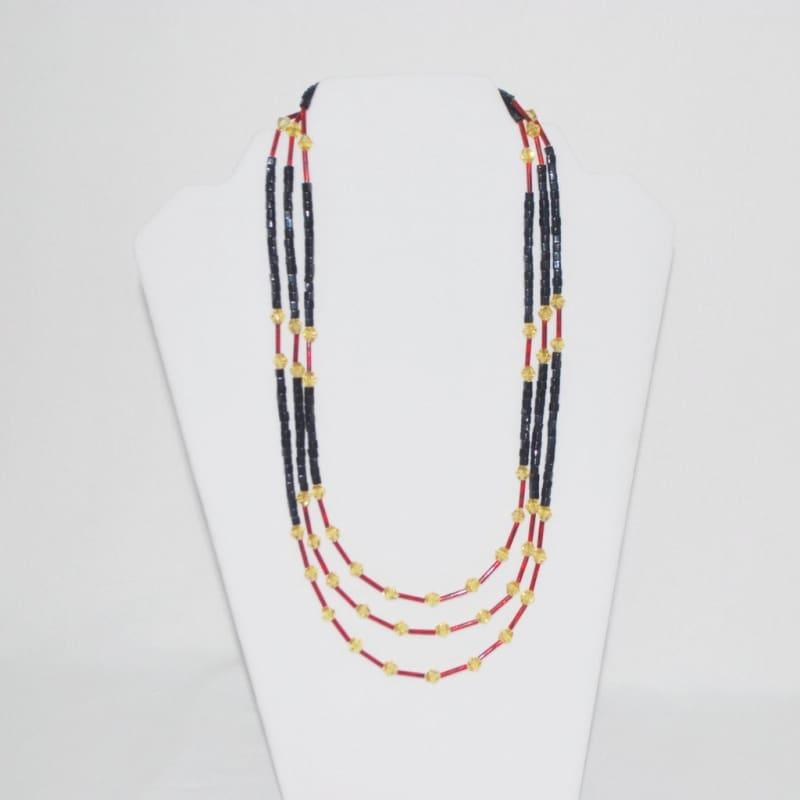 Black And Gold/Red Ascent Three Strands Necklace - TeresaCollections