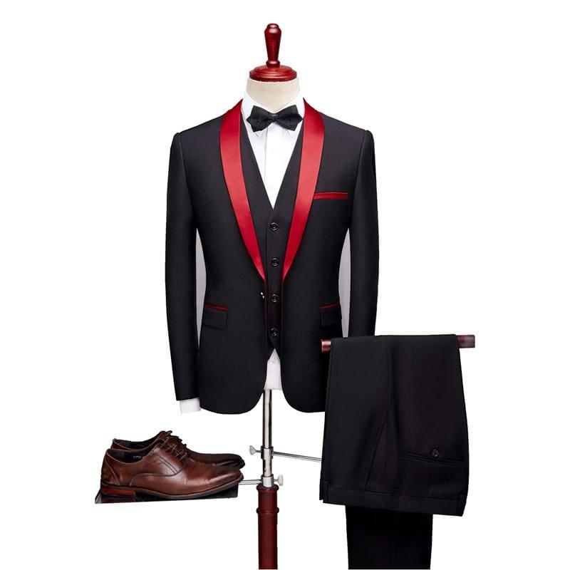 Black and Red Three Piece Tuxedo Suits - Black / XXXL - Mens Suits